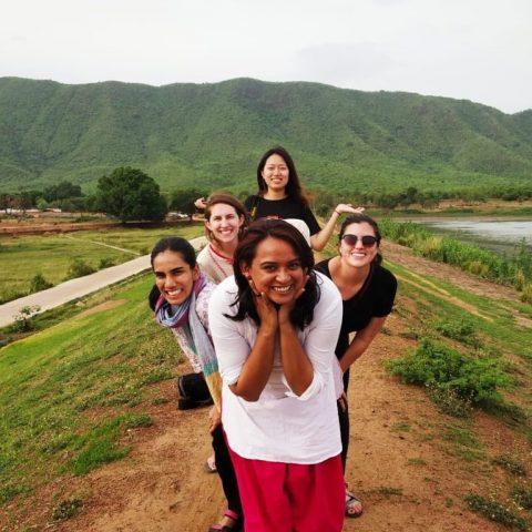 A group of women outside