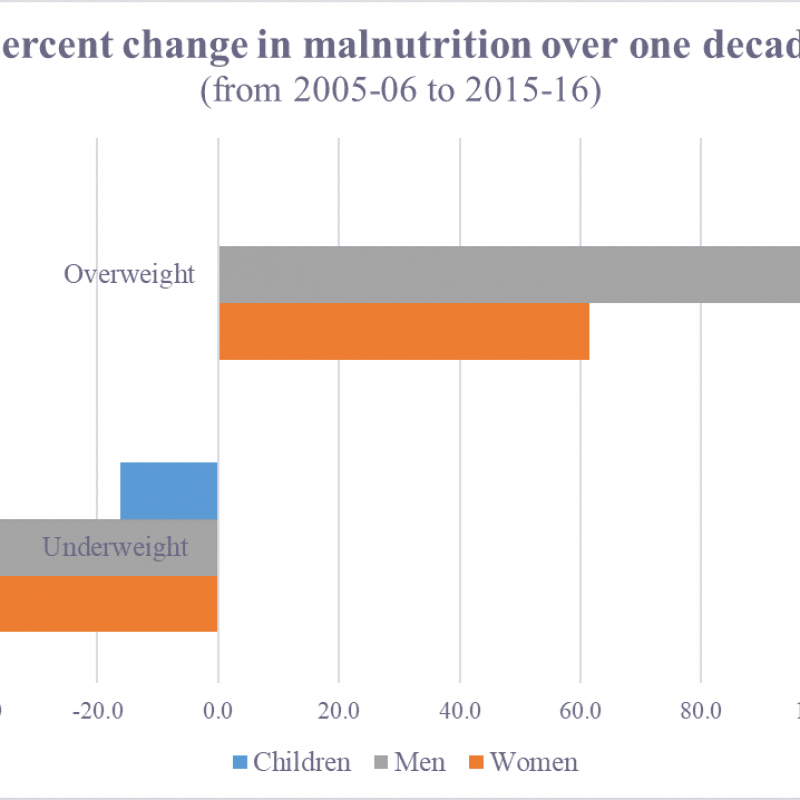 graph showing percent change in malnutrition over one decade
