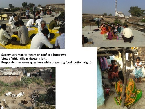 supervisors monitor teams, view of Bhidi village, respondent answering questions